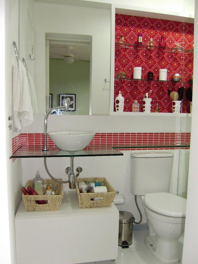 Nicho Bancada Banheiro : Banheiro com cor ?rica rocha
